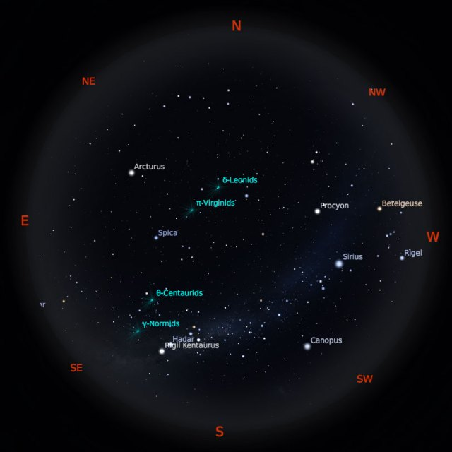 Peta Bintang 1 Maret 2019 pukul 23:59 WIB. Kredit: Stellarium
