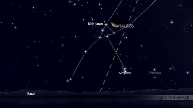 Pasangan Bulan dan Aldebaran 13 Maret 2019 pukul 21:30 WIB. Kredit: Star Walk