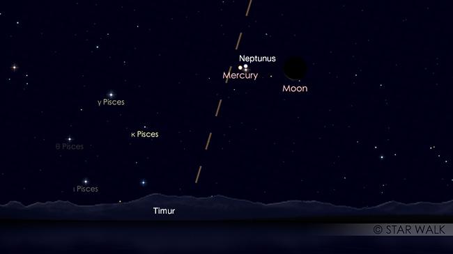 Pasangan Bulan dan Merkurius 3 April 2019 pukul 05:00 WIB. Kredit: Star Walk