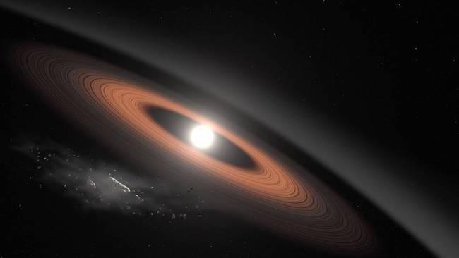 Ilustrasi cincin debu dari reruntuhan pada bintang katai putih. Kredit: NASA's Goddard Space Flight Center/Scott Wiessinger