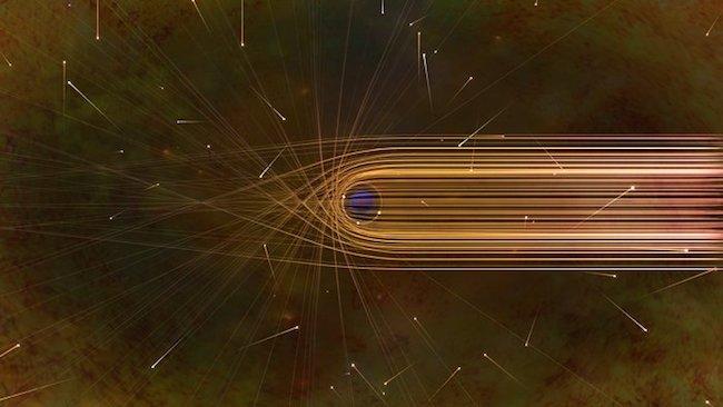Ilustrasi pembelokkan cahaya oleh gravitasi di sekeliling lubang hitam. Kredit: Nicolle R. Fuller/NSF