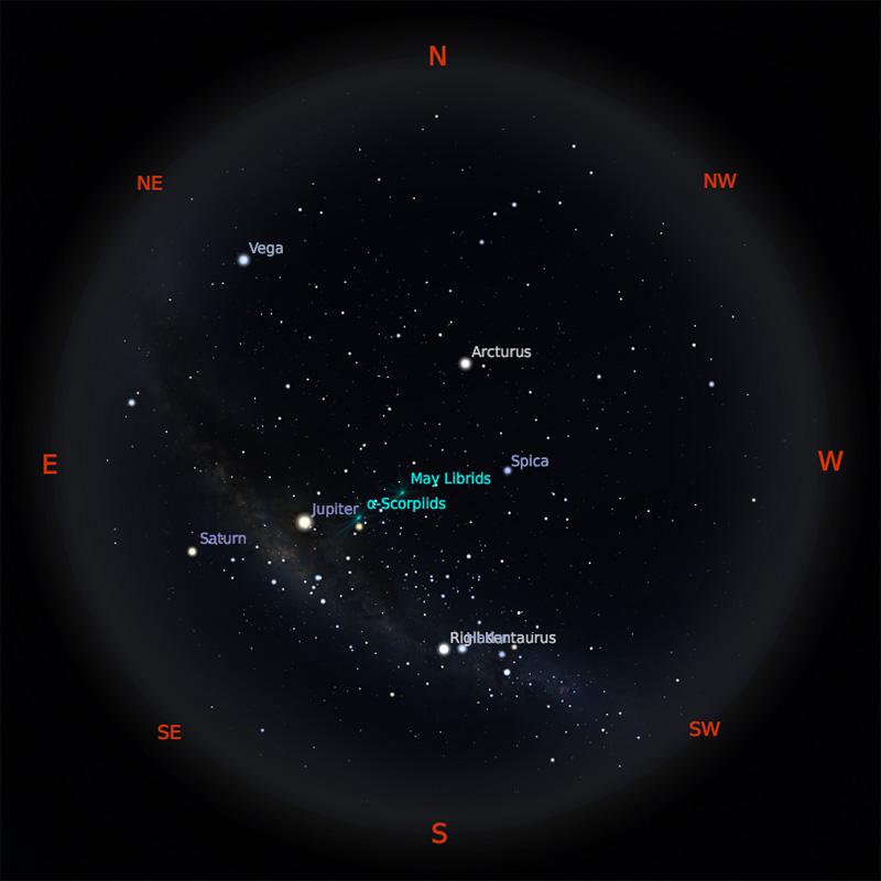 Peta Bintang 1 Mei 2019 pukul 23:59 WIB. Kredit: Stellarium