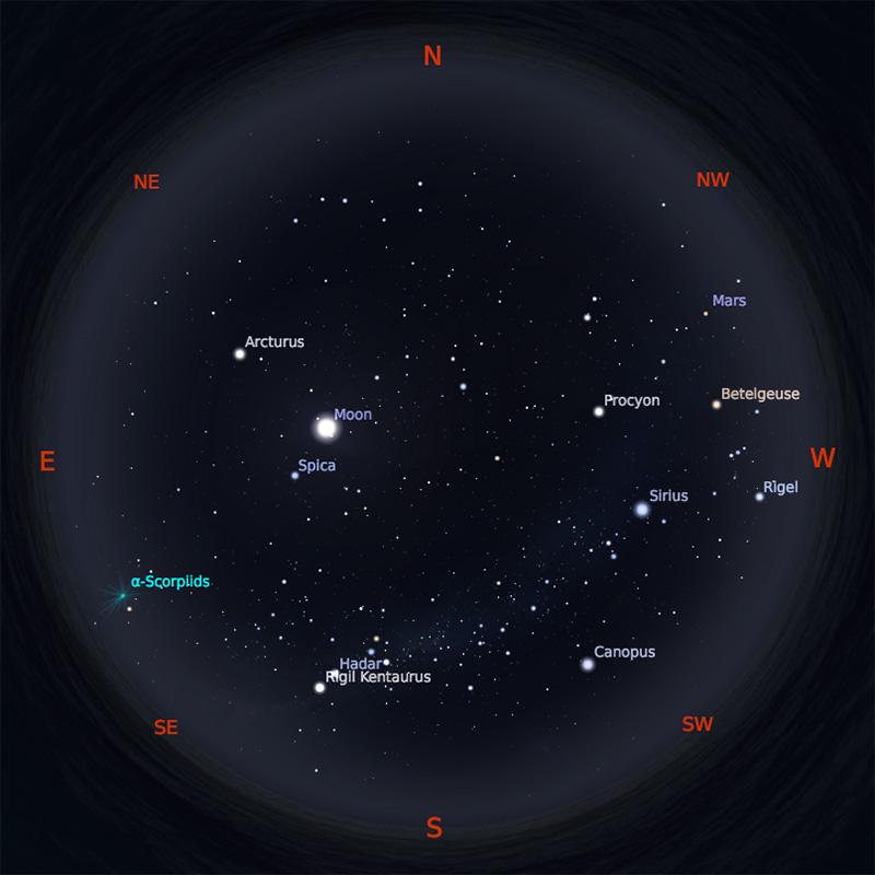 Peta Bintang 15 Mei 2019 pukul 19:00 WIB. Kredit: Stellarium