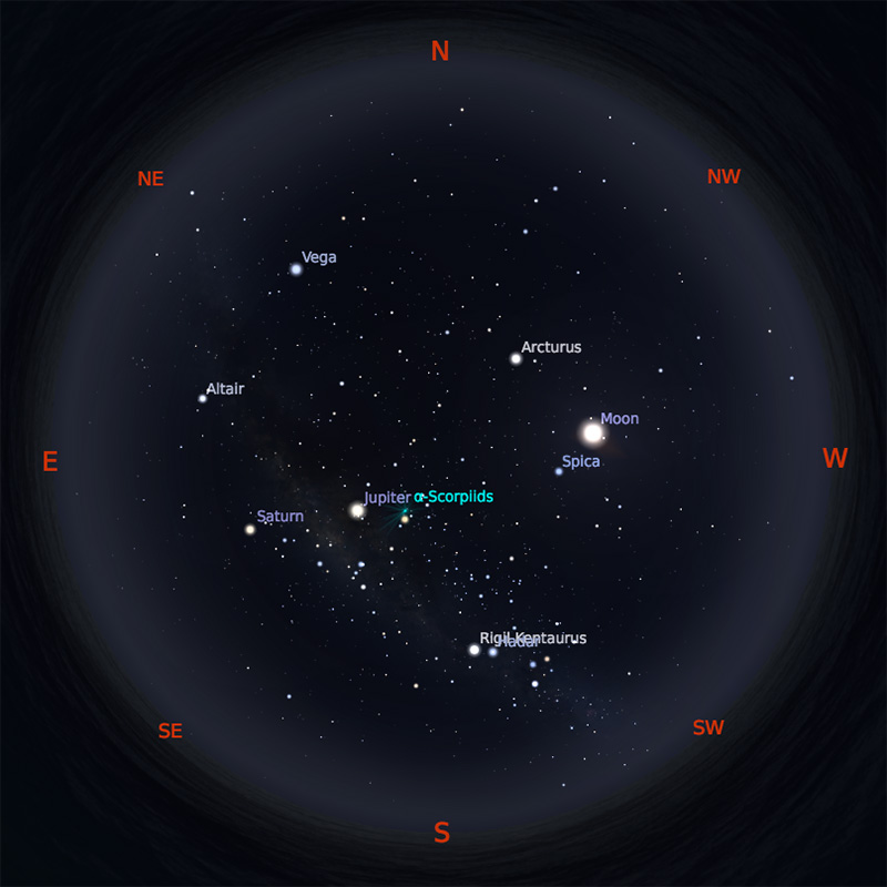 Peta Bintang 15 Mei 2019 pukul 23:59 WIB. Kredit: Stellarium