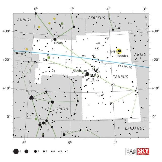 Peta langit Taurus. Kredit: IAU dan Sky & Telescope