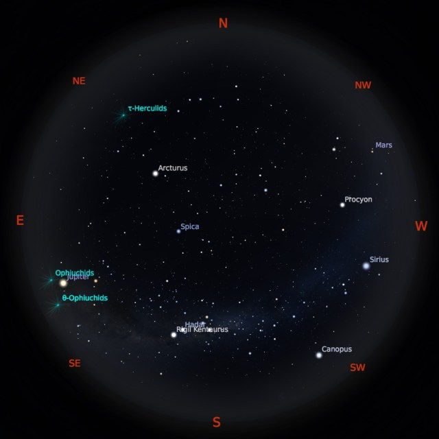 Peta Bintang 1 Juni 2019 pukul 19.00 WIB. Kredit: Stellarium