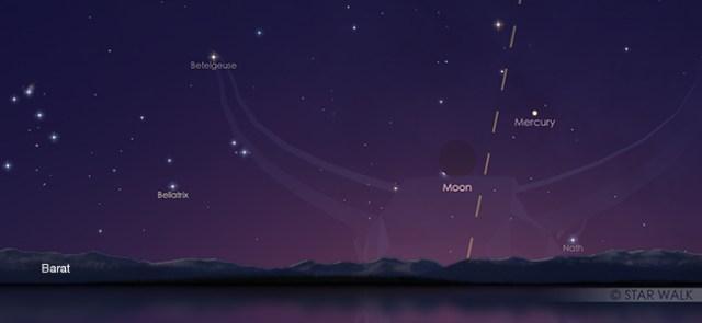 Pasangan Bulan dan Merkurius pada 4 Juni pukul 18.00 WIB. Kredit: Star Walk