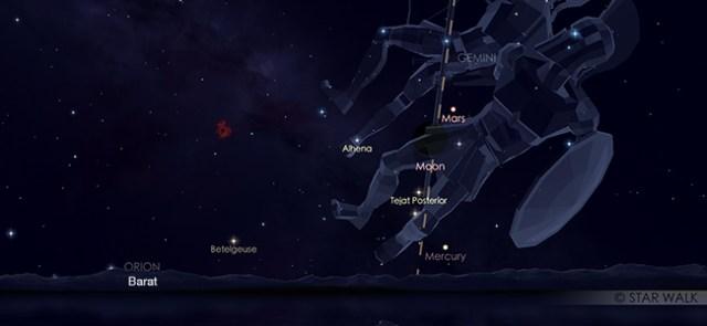 Konjungsi Bulan dan Mars pada 5 Juni pukul 6.30 malam. WIB. Kredit: Star Walk