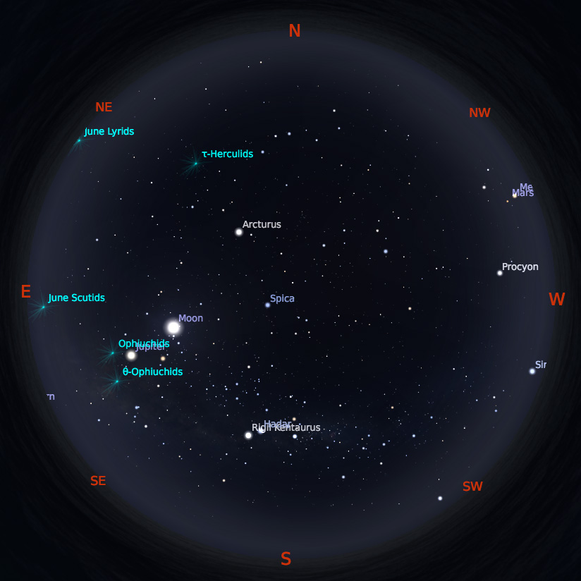 Peta Bintang 15 Juni 2019 pukul 19:00 WIB. Kredit: Stellarium