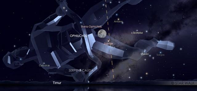 Konjungsi Bulan dan Jupiter pada 16 Juni pukul 6.30 malam. WIB. Kredit: Star Walk