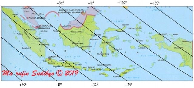 Gambar 3. Peta tinggi bulan di Indonesia pada 3 Juni 2019 TU maghrib lokal didasarkan pada sistem perhitungan kontemporer ELP 2000-82. Sumber: Sudibyo, 2019.
