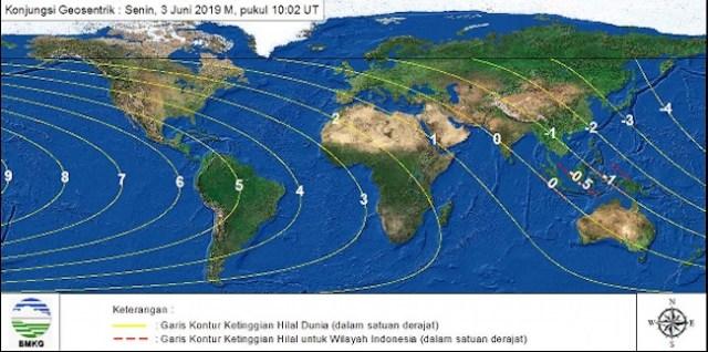 Gambar 4. Peta tinggi bulan di seluruh dunia pada 3 Juni 2019 TU maghrib lokal didasarkan pada sistem perhitungan kontemporer. Sumber: BMKG, 2019.