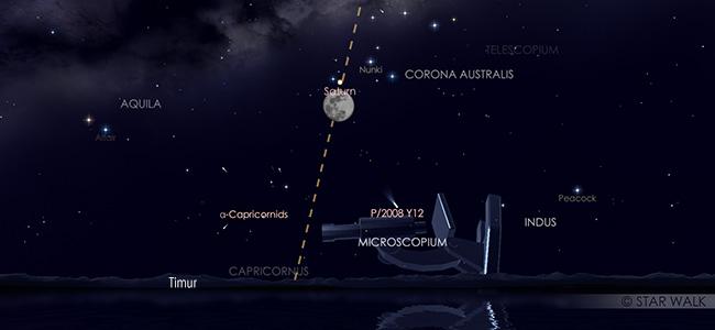 Konjungsi Bulan dan Saturnus pada tanggal 16 Juli pukul 19:30 WIB. Kredit: Star Walk