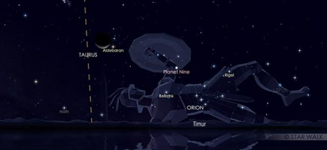 Konjungsi Bulan dan Aldebaran pada tanggal 28 Juli pukul 03:30 WIB. Kredit: Star Walk