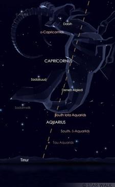 Hujan meteor Alpha Capricornid dan delta Aquariid Selatan pada 30 Juli 2019 pukul 20:30 WIB. Kredit: Star Walk
