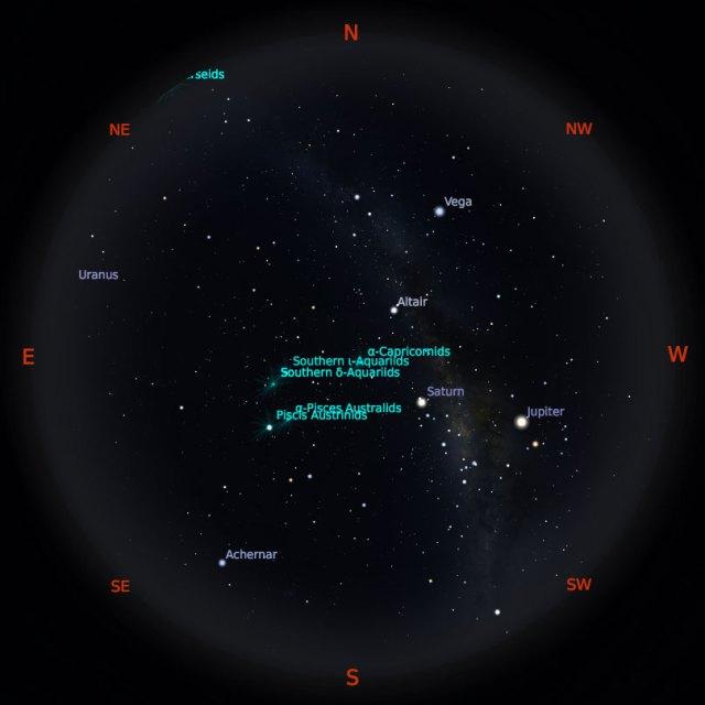 Peta Bintang 1 Agustus 2019 pukul 23:59 WIB. Kredit: Stellarium