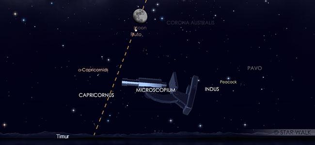 Konjungsi Bulan dan Saturnus pada tanggal 12 Agustus pukul 18:30 WIB. Kredit: Star Walk