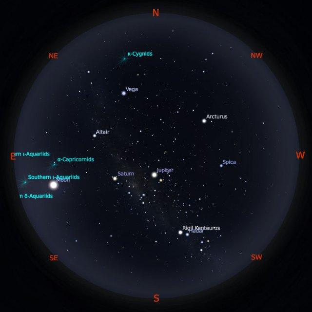 Peta Bintang 15 Agustus 2019 pukul 19:00 WIB. Kredit: Stellarium