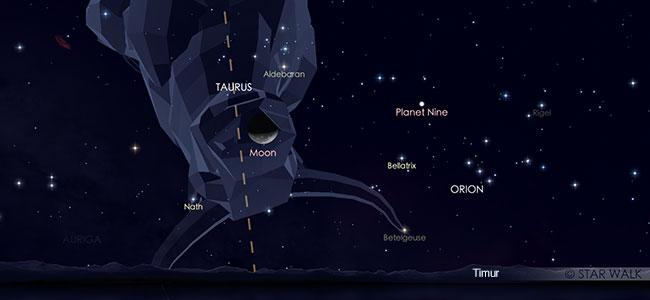 Konjungsi Bulan dan Aldebaran pada tanggal 24 Agustus pukul 02:00 WIB. Kredit: Star Walk
