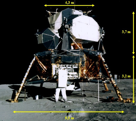 Gambar 6. Modul pendarat Bulan dari Apollo 11, beberapa jam setelah pendaratan berlangsung, diabadikan oleh Neil Armstrong. Nampak Edwin Aldrin sedang membuka ruang bagasi guna mengeluarkan instrumen ilmiah yang hendak dipasang di Bulan. Sumber: NASA, 1969.