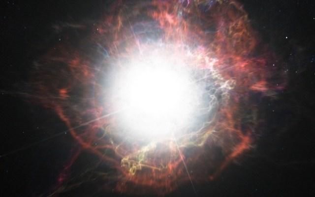 Gambar ini mengilustrasikan pembentukan materi di lingkungan sekitar ledakan supernova. Kredit: ESO/M. Kornmesser