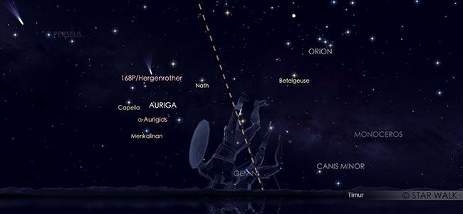 Hujan meteor Aurigid tanggal 2 September 2019 pukul 03:00 WIB. Kredit: Star Walk