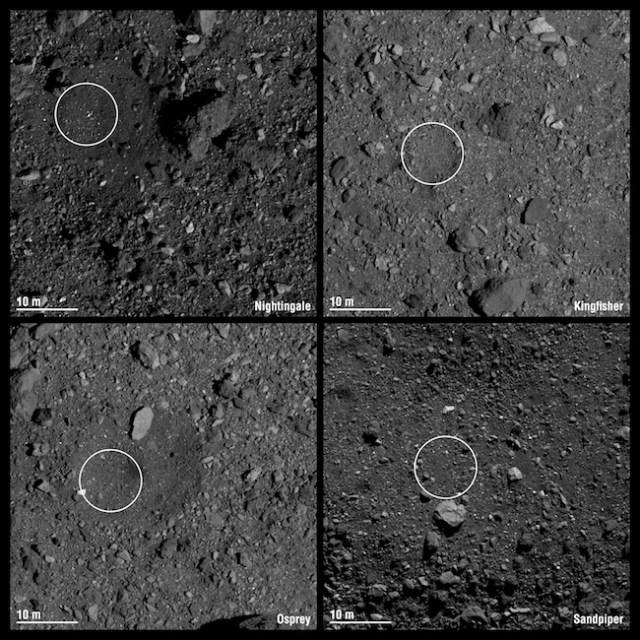 Empat kandidat lokasi titik sampling OSIRIS-REx. Kredit: NASA
