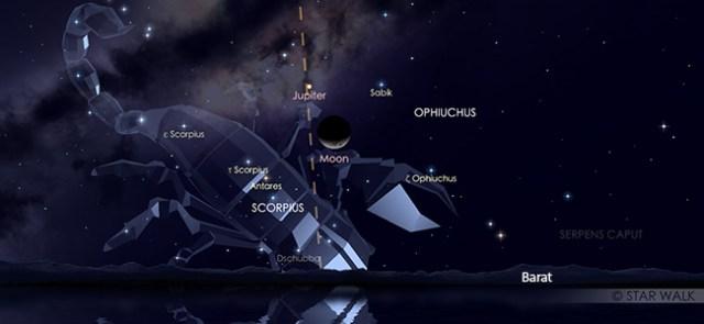 Konjungsi Bulan dan Jupiter pada 3 Oktober 2019 pukul 21.00 WIB. Kredit: Star Walk