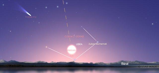 Konjungsi Inferior Merkurius 11 November 2019 pukul 17:20 WIB. Kredit: Star Walk
