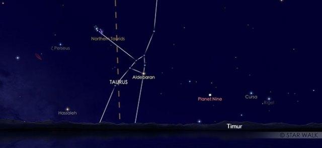 Hujan meteor Taurid Utara yang tampak muncul dari rasi Taurus pada tanggal 12 November 2019 pukul 20:00 WIB. Kredit Star Walk