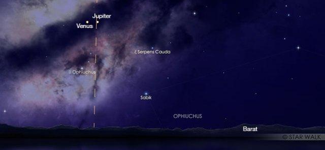 Pasangan Venus dan Jupiter di langit senja 24 November 2019 pukul 18:30 WIB. Kredit: Star Walk