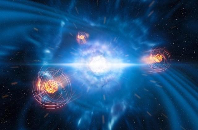 Ilustrasi pembentukan strontium selama tabrakan bintang neutron. Kredit: ESO / L. Calçada / M. Kornmesser