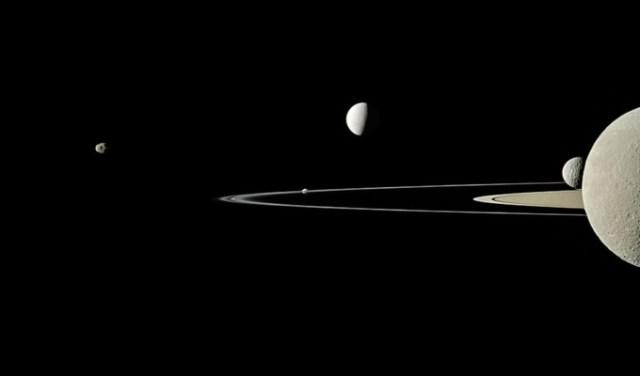 Saturnus dan satelit-satelitnya. Kredit: UNAWE