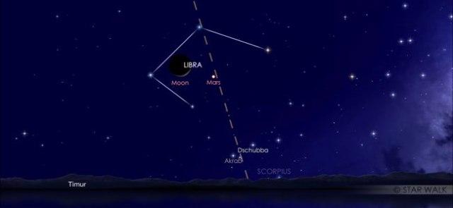 pasangan Bulan dan Mars jelang fajar 23 Desember 2019 pukul 04:30 WIB. Kredit: Star Walk