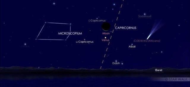 Pasangan Bulan dan Venus 29 Desember 2019 pukul 19:30 WIB. Kredit: Star Walk