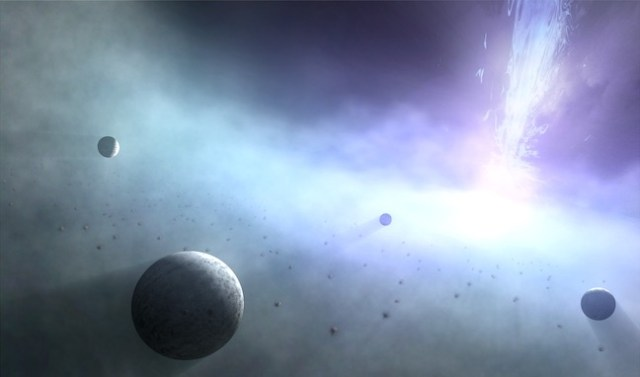 Ilustrasi planet yang terbentuk di lubang hitam. Kredit: Universitas Kagoshima