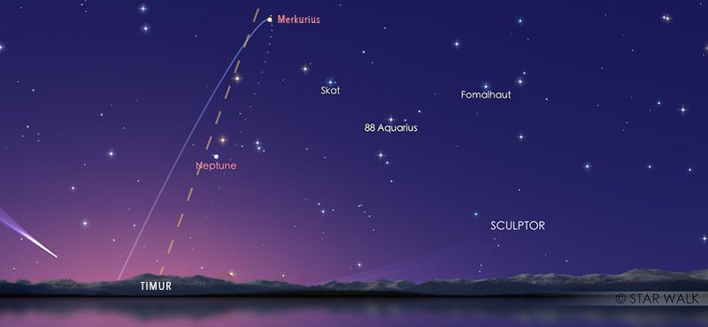 Merkurius saat berada pada titik tertingginya di timur saat elongasi barat maksimum. Kredit: Star Walk