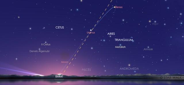 Venus saat berada pada titik tertingginya di barat saat elongasi timur maksimum. Kredit: Star Walk