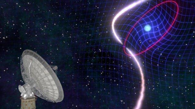 Ilustrasi teleskop radio Parkes mengamati sinyal radio dari pulsar yang dipasangkan dengan kurcaci putih. Kredit: Mark Myers, OzGrav ARC Center of Excellence