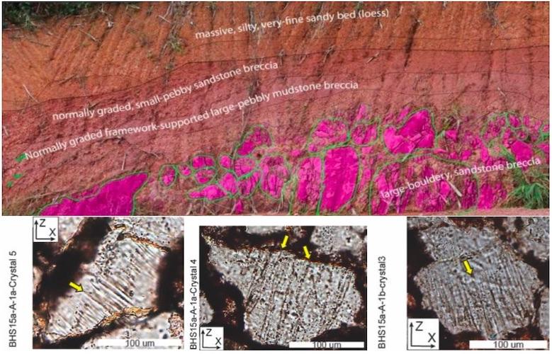 Gambar 6. Singkapan batuan produk tumbukan benda langit pembentuk Kawah Bolaven dan tektit Australasia di tebing yang dipotong dalam pembangunan jalan raya. Nampak lapisan-lapisan batuan pada tebing (atas) dan pola garis-garis deformasi datar/PDF (planar deformation feature) pada kristal kuarsa dalam batuan saat diamati dengan mikroskop polarisasi. Sumber: Sieh dkk, 2019.