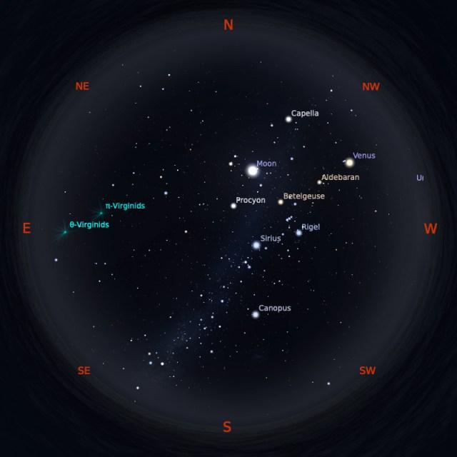 Peta Bintang 1 April 2020 pukul 19:00 WIB. Kredit: Stellarium
