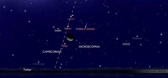 Bulan dan Mars yang tampak dekat di langit malam pada tanggal 16 April 2020 pukul 02:00 WIB dini hari. Kredit: Star Walk.