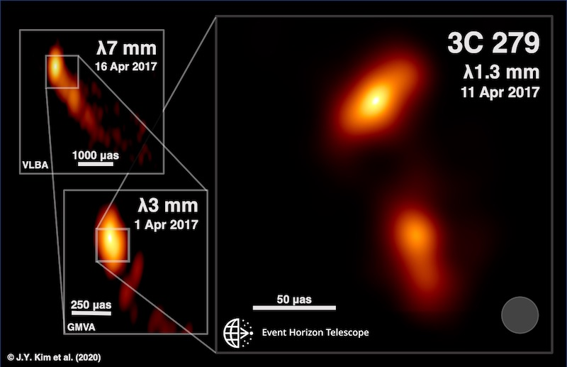 Struktur Jet plasma dalam berbagai panjang gelombang yang dipotret oleh beberapa teleskop radio seperti VLBI, GMVA, dan EHT. Kredit: J.Y. Kim (MPIfR), Boston University Blazar Program (VLBA dan GMVA), dan Event Horizon Telescope Collaboration