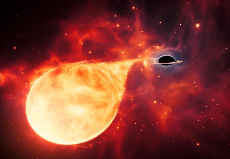 Ilustrasi lubang hitam massa menengah sedang melahap bintang. Kredit: ESA/Hubble, M. Kornmesser
