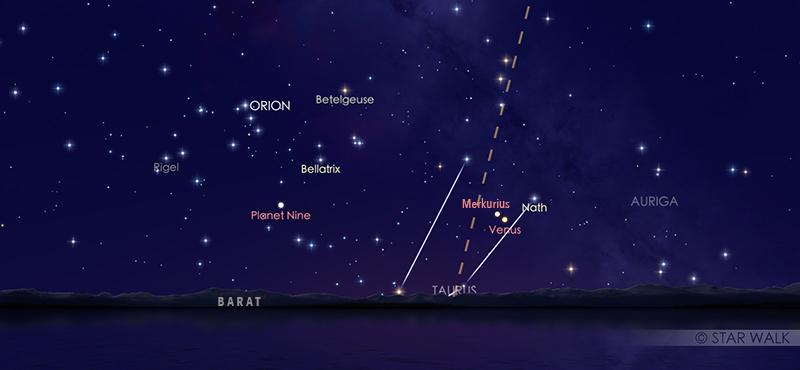 Pasangan Merkurius dan Venus kala senja tanggal 22 Mei 2020 pukul 18:15 WIB. Kredit: Solar Walk