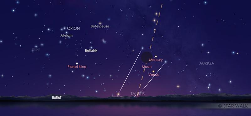 Trio Bulan, Merkurius, dan Venus kala senja tanggal 24 Mei 2020 pukul 18:00 WIB. Kredit: Solar Walk