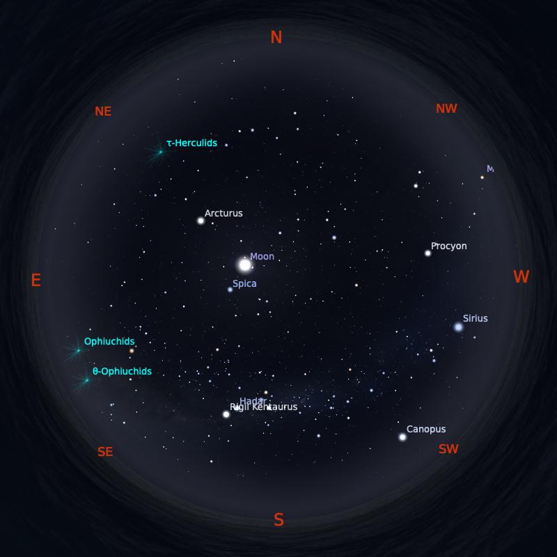 Peta Bintang 1 Juni 2020 pukul 19:00 WIB. Kredit: Stellarium