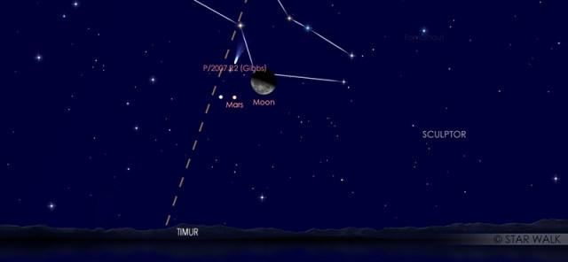 Pasangan Bulan dan Mars pada tanggal 13 Juni 2020 pukul 01:00 WIB. Kredit: Star Walk