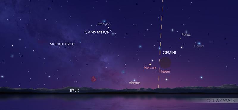 Pasangan Bulan dan Merkurius pada tanggal 22 Juni 2020 pukul 18:00 WIB. Kredit: Star Walk