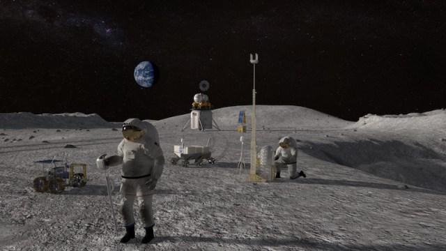 Ilustrasi kembali ke Bulan yang direncanakan dalam Proyek Artemis pada tahun 2024. Kredit: NASA